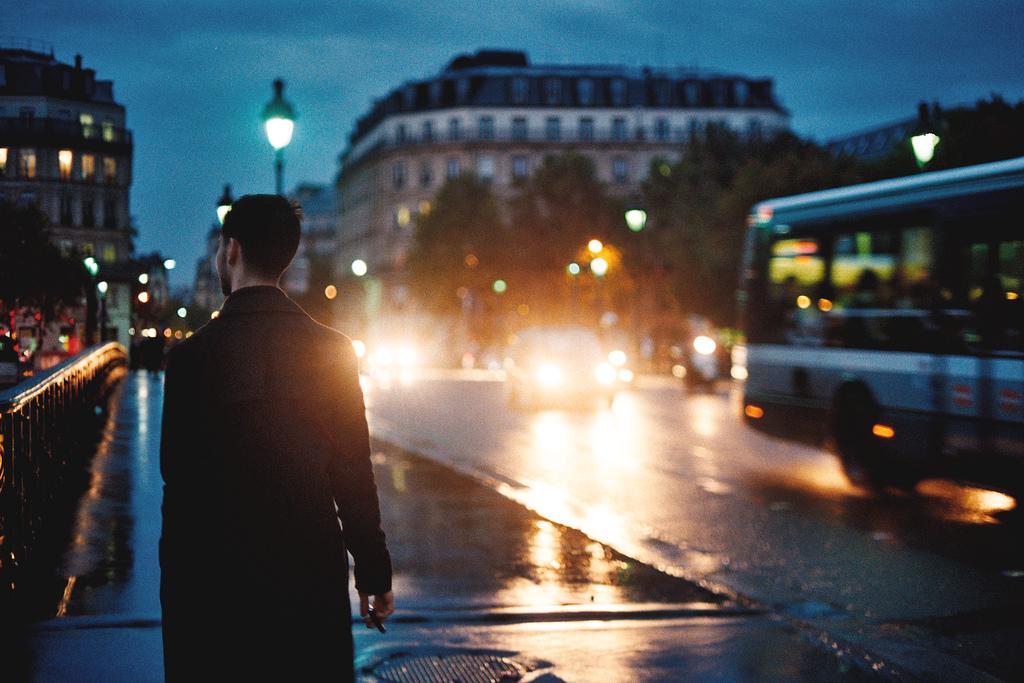 Rainy street in Paris, France