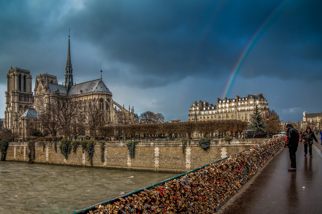Rainbow and the Notre Dame cathedral, Paris