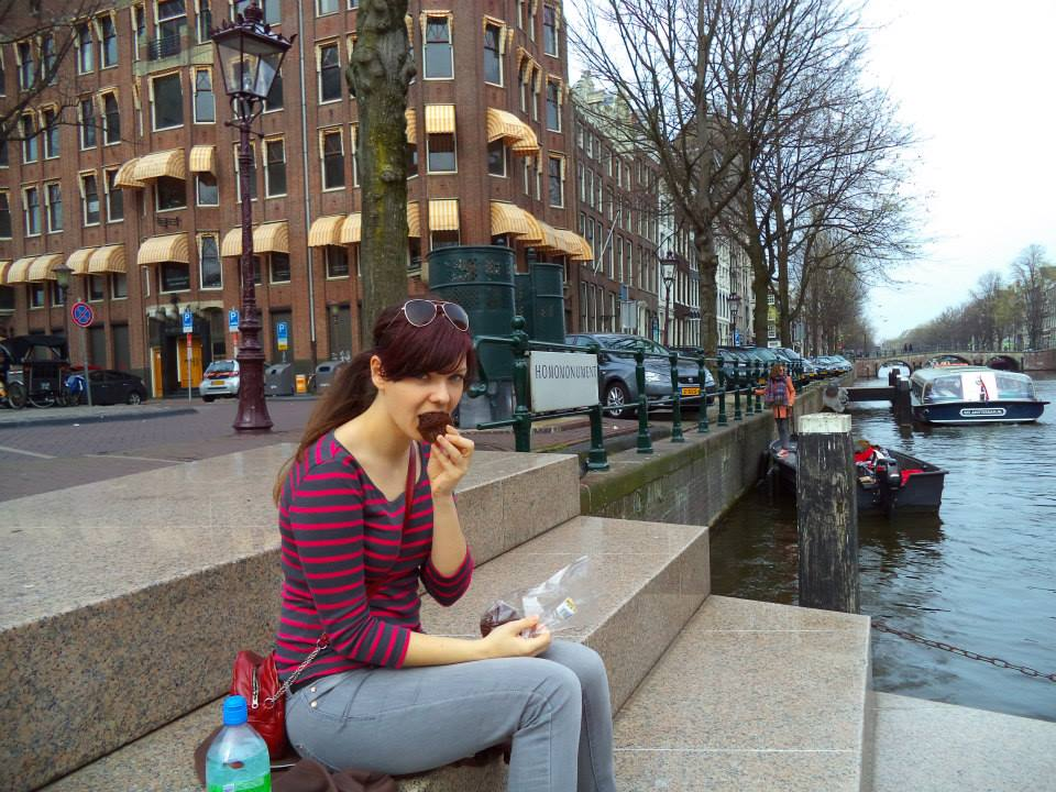 Eating a muffin in Amsterdam