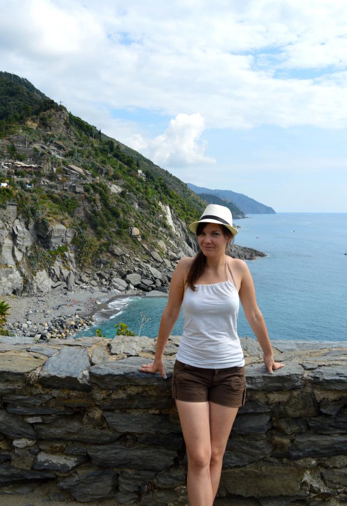 Posing in Vernazza, Cinque Terre, Italy.